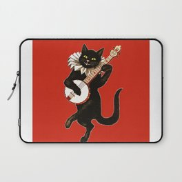 Black Cat for Halloween with Red Laptop Sleeve