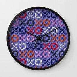 XOXO pattern - blue Wall Clock