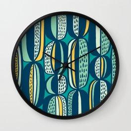 Blue Cactus Garden // mid century modern pattern Wall Clock