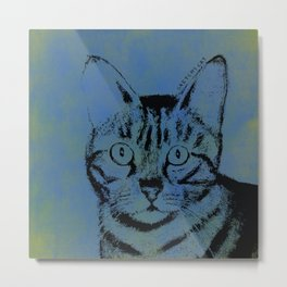 Sketchy Cat on Blue Metal Print