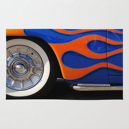 Chrome hubcaps, orange flames Rug