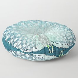 Peacock - Vintage Fantasy Bird Teal Blue Floor Pillow