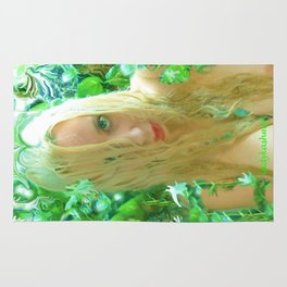 Nude sexy blond wet fairy wood nymph lady kashmir  Rug