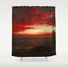 'Marine Sunset, Rhode Island' by Frederic Irwin Church Shower Curtain