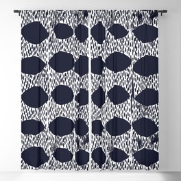 Arches Block Print in Navy Blackout Curtain