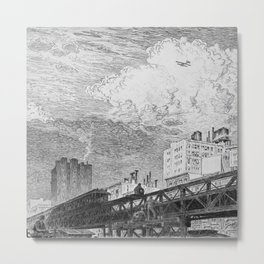 Men Working on Elevated Train Tracks, Looking at Airplane in Sky, etching, circa 1919 by Martin Lewis Metal Print