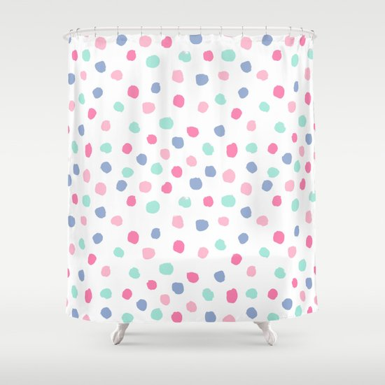 Pastel Painted Dots Pattern Minimal Mint And Pink Nursery