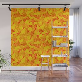 swirl pattern yellow orange Wall Mural