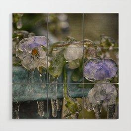 Pansies on Ice Wood Wall Art
