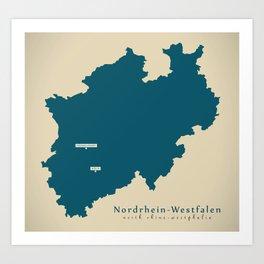 Modern Map of Nordrhein Westfalen Germany Illustration Art Print