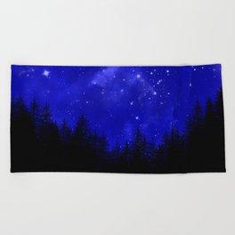 Blue Galaxy Forest Night Sky Beach Towel