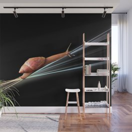 Snail (on black background) Wall Mural