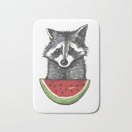 Racoon and watermelon Bath Mat