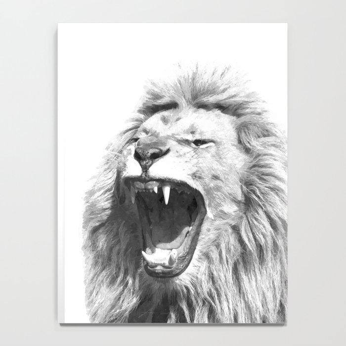 Black White Fierce Lion Notebook