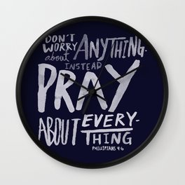 Dont Worry, Pray x Navy Wall Clock