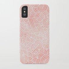 Rose quartz and white swirls doodles iPhone X Slim Case
