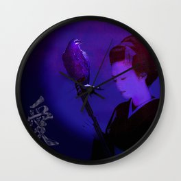 The geisha of Kyôto playing the shamisen for the night crow Wall Clock