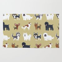 russian Area & Throw Rugs featuring RUSSIAN DOGS by DoggieDrawings