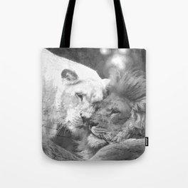 Lion in Love Valentine's Day Tote Bag