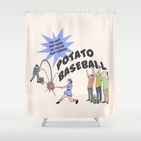 potato Shower Curtains featuring Potato Baseball by Gas Station Burrito