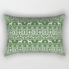 Beagle fair isle christmas green and white dog breed holiday gifts beagles Rectangular Pillow