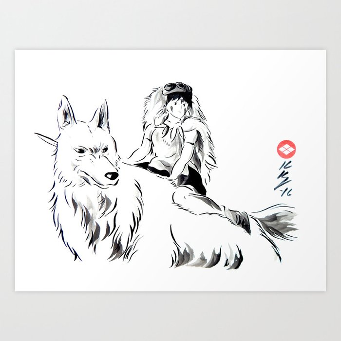 mononoke japanese sumi e style ink painting art print by knappink