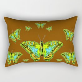 GREEN-YELLOW MOTHS ON COFFEE BROWN Rectangular Pillow