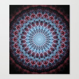 Detailed mandala in red and blue Canvas Print