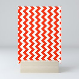 White and Scarlet Red Vertical Zigzags Mini Art Print