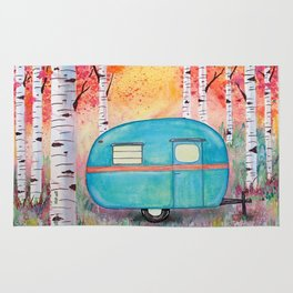 Vintage Camper Beach Towel Among the Birch Rug