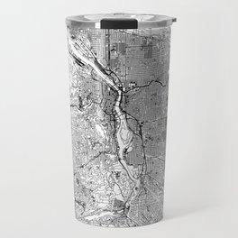 Portland White Map Travel Mug