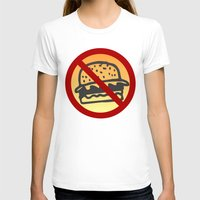 junk food T-shirts featuring No Junk Food Zone by Geni