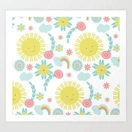 Sunshine Fun Rainbow Floral Pattern Art Print
