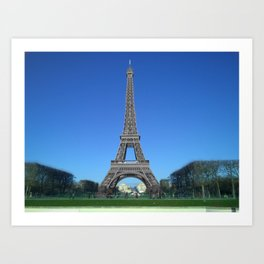 Paris Eiffel tower black and white with color Art Print