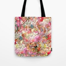 Summer Flowers | Colorful Watercolor Floral Pattern Abstract Sketch Tote Bag