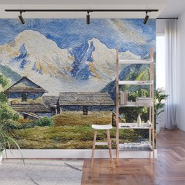 Old House By The Mountain Wall Mural