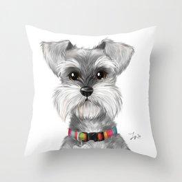 Moustache dog Throw Pillow