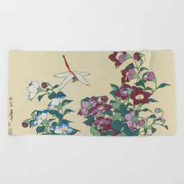 Hokusai (1760-1849) Bell-flowers and Dragonfly Beach Towel
