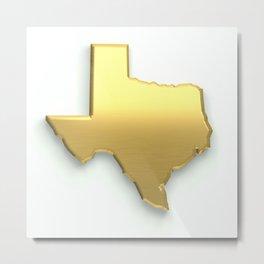 Golden Texas Map Metal Print