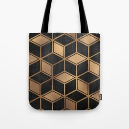 Charcoal and Gold - Geometric Textured Cube Design II Tote Bag
