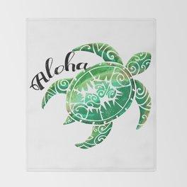 Vintage Hawaiian Distressed Turtle Throw Blanket