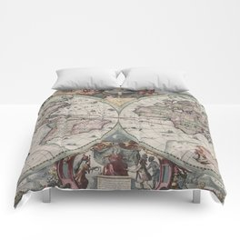 Vintage Map of The World (1630) Comforters