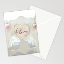 Dreamy Ethereal White Angel Wings Love Heart Print and Love Home Decor Stationery Cards
