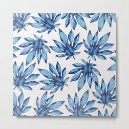 Tropical leaves - blue Metal Print