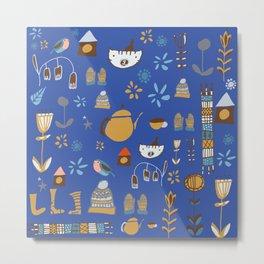 hygge cat and bird blue Metal Print