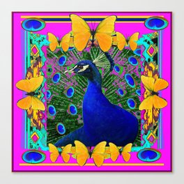 Cerise Wildlife Art Blue Peacock & Yellow Butterflies Art Canvas Print