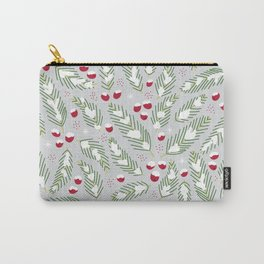 Winter Berries in Gray Carry-All Pouch