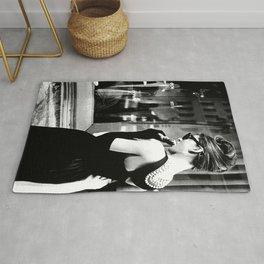 Audrey Hepburn in Black Gown, Jewelry, Vintage Black and White Art Rug