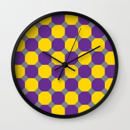 Purple and Yellow Octogons Wall Clock