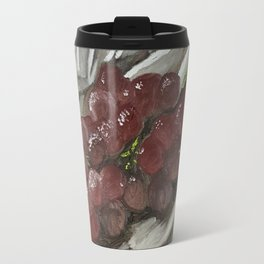 Oil paint on canvas still life painting of grapes on fabric cloth drape contrast fruit  Travel Mug
